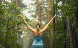 healthy lifestyle fitness sporty woman running early in the morning in forest area fitness healthy lifestyle concept